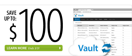 Save up to $100 on Vault in March. Learn more.