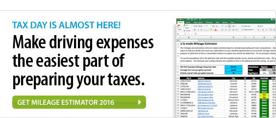 Tax day is almost here! Make driving expenses the easiest part of preparing your taxes. Get Mileage Estimator 2016.
