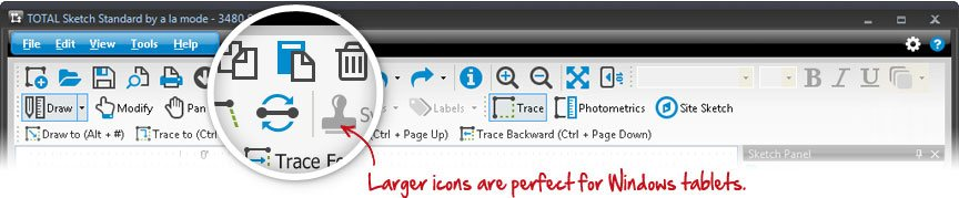 Larger icons perfect for Windows tablets.