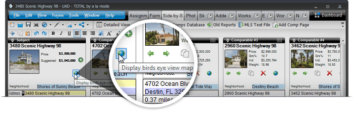 There is now a Bird's Eye View Map option for your Subject within the Side-by-Side PowerView as well as your comps.