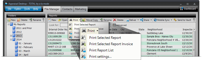 Print individual pages like the invoice or order form, and your list of reports without opening your file.