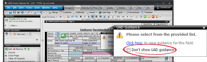 Turn off UAD guidance warnings now by checking the 'Don't show UAD guidance' box on the notification.