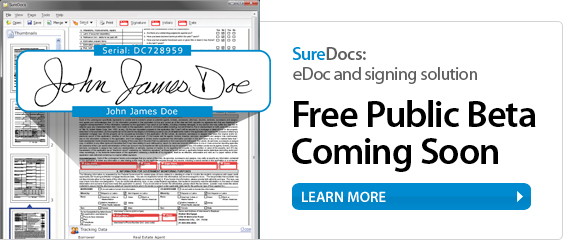 SureDocs: eDoc and signing solution. Free public beta coming soon.
