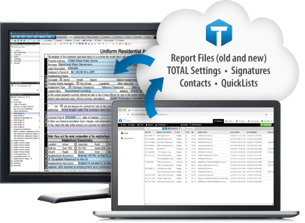 Report files, TOTAL settings, signatures, contacts, databases.